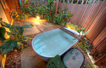 Bathtub inside a private garden